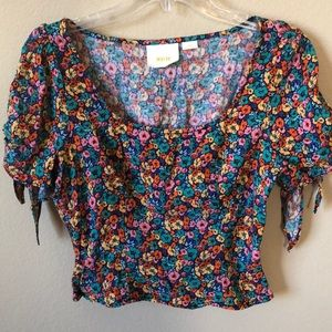 Anthropologie Maeve Floral Crop Top